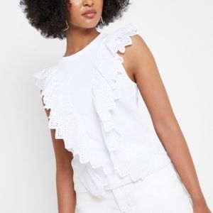 TopShop White Broderie Eyelet Ruffle Front Tank